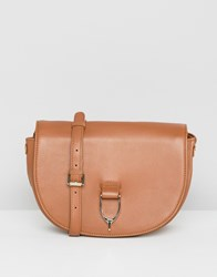 Paul Costelloe Real Leather Saddle Buckle Cross Body Shoulder Bag Tan