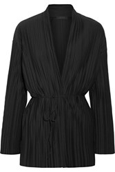 The Row Kim Plisse Stretch Jersey Cardigan Black