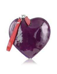 Fontanelli Patent Leather Heart Coin Purse Purple