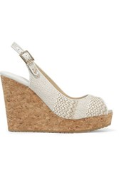 Jimmy Choo Prova Leather Trimmed Woven Wedge Sandals White