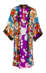 Warm Tropics Kimono Dress Purple Red White