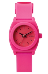 Nixon 'The Small Time Teller' Round Watch 26Mm Hot Pink