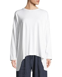 Eskandar Long Sleeve Round Neck Pima Cotton T Shirt White