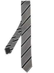 Hugo Boss Diagonal Stripe Tie Men Silk Acetate Viscose One Size Black