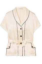 b17728e5ebf92 Morgan Lane Charlotte Belted Silk Charmeuse Pajama Top Ivory