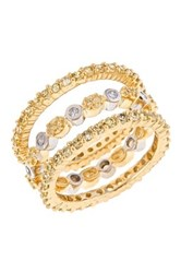 Sterling Forever 14K Yellow Gold Plated Sterling Silver Cz Band Ring Set Metallic