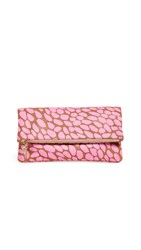 Clare V. Foldover Clutch Neon Pink