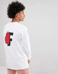 Fairplay Long Sleeve T Shirt With Rose Back Print In White