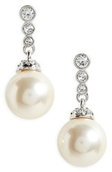 Nina Women's Nadri Imitation Pearl Drop Earrings Ivory Pearl Silver