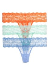 B.Tempt'd Women's By Wacoal 'Kiss' Lace Thong Yucca Placid Blue Coral