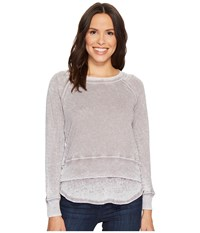 Allen Allen Long Sleeve Crew Double Layer Top Medium Grey Clothing Gray