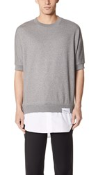 3.1 Phillip Lim Short Sleeve Sweatshirt With Poplin Tail Melange Grey