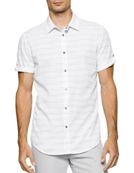 Calvin Klein Jeans Short Sleeve Striped Button Down Shirt Classic White