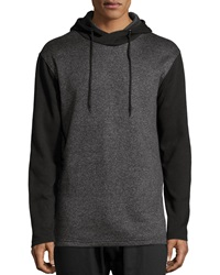 American Stitch Hooded Zip Trim Colorblock Sweater Charcoal
