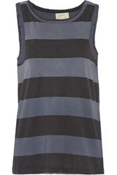 Current Elliott The Muscle Striped Cotton Tank Midnight Blue