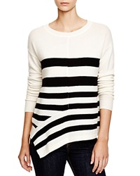 C By Bloomingdale's Striped Asymmetric Cashmere Sweater