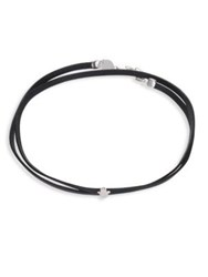 Jennifer Zeuner Jewelry Ivy Leather And Sterling Silver Mini Faith Choker Black