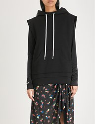 Moandco. Sleeveless Cotton Blend Hoody Black