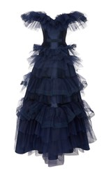 Alexis Mabille Off The Shoulder Tulle Gown Navy