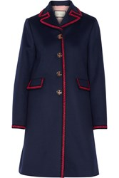 Gucci Embroidered Wool Coat Navy