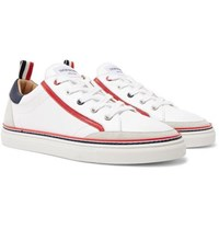 Thom Browne Suede Trimmed Leather Sneakers White
