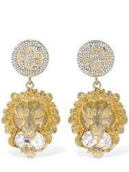 Gucci Lion Head Crystal Clip On Earrings Gold
