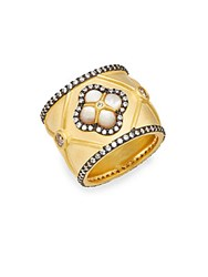 Freida Rothman Metropolitan Mother Of Pearl White Stone And 14K Yellow Gold Vermeil Ring