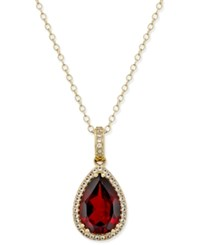 Macy's Garnet 4 3 4 Ct. T.W. And Diamond 1 4 Ct. T.W. Pendant Necklace In 14K Gold Yellow Gold