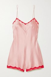 Morgan Lane Genevieve Lace Trimmed Silk Blend Charmeuse Playsuit Pink