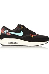 Nike Air Max 1 Suede Mesh And Printed Faux Leather Sneakers Black