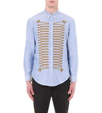 Palm Angels Military Detail Cotton Shirt Light Blue