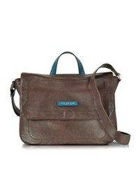 The Bridge Plume Mix Uomo Dark Brown Leather Reporter Bag