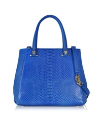 Ghibli Blue Python And Leather Tote W Detachable Shoulder Strap