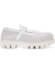 Rocco P. Perforated Chunky Sole Loafers Women Cotton Rubber 39.5 White