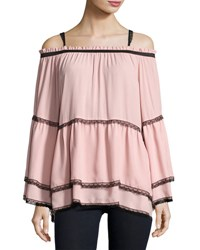 Romeo And Juliet Couture Chiffon Lace Off The Shoulder Top Pink