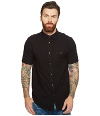 Threads For Thought Double Face Short Sleeve Gauze Woven Black Men's Clothing
