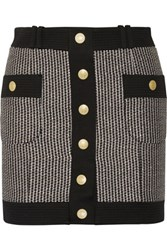 Balmain Pierre Cotton Blend Tweed Mini Skirt Black