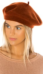 Hat Attack Classic Wool Beret In Orange. Tobacco