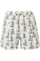 Bassike Printed Stretch Cotton Poplin Shorts White