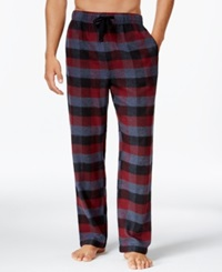Perry Ellis Buffalo Plaid Flannel Pajama Pants Maroon Black