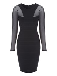 Jane Norman Black Bandage Mesh Dress Black