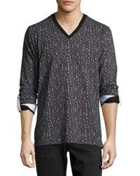 Maceoo Contrast Trim V Neck Shirt Black