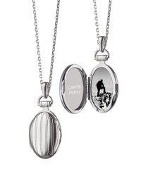 Monica Rich Kosann 3 4 Pinstriped Silver Oval Locket Necklace Unassigned