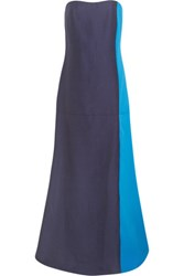 Roksanda Ilincic Strapless Color Block Cotton Blend Gown Navy