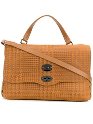 Zanellato Houndstooth Detailed Satchel Bag Brown