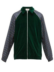 Gucci Piped Velvet Track Jacket Green Multi