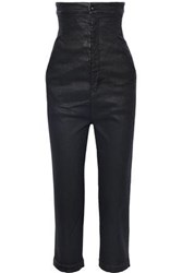 Rick Owens Woman Cropped Coated High Rise Straight Leg Jeans Black