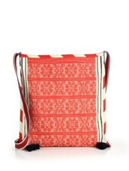Star Mela Bea Large Embroidered Canvas Crossbody Bag Ecru Red