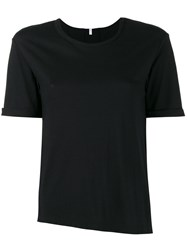 Lot 78 Lot78 Asymmetric Round Neck T Shirt Women Nylon Micromodal Cashmere S Black
