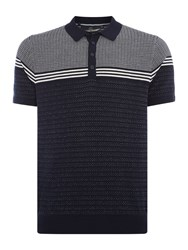 Duck And Cover Men's Circline Textured Polo Navy